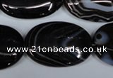 CAG3006 15.5 inches 20*30mm oval black line agate beads