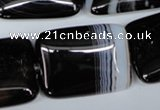 CAG3026 15.5 inches 22*30mm rectangle black line agate beads