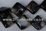 CAG3043 15.5 inches 14*14mm diamond black line agate beads