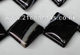 CAG3045 15.5 inches 18*18mm diamond black line agate beads