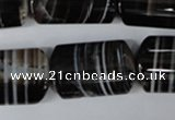 CAG3048 15.5 inches 16*25mm flat tube black line agate beads