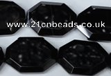 CAG3108 15.5 inches 18*25mm octagonal black line agate beads