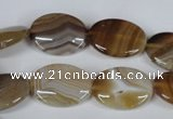 CAG3131 15.5 inches 10*14mm oval brown line agate beads