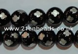 CAG3354 15.5 inches 12mm carved round black agate beads wholesale