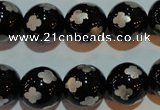 CAG3355 15.5 inches 14mm carved round black agate beads wholesale
