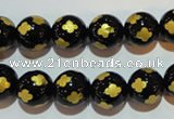 CAG3363 15.5 inches 10mm carved round black agate beads wholesale