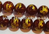 CAG3411 15.5 inches 14mm carved round red agate beads wholesale