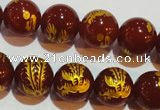 CAG3416 15.5 inches 14mm carved round red agate beads wholesale
