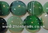 CAG3455 15.5 inches 18mm flat round green line agate beads