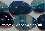 CAG3472 15.5 inches 18*25mm flat teardrop blue line agate beads
