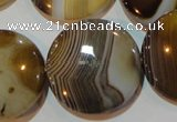 CAG3507 15.5 inches 30mm flat round brown line agate beads