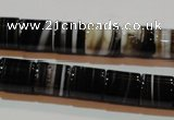 CAG3510 15.5 inches 11*13mm column brown line agate beads