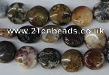 CAG3515 15.5 inches 10mm flat round ocean agate gemstone beads