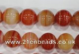 CAG3590 15.5 inches 14mm round red line agate beads wholesale