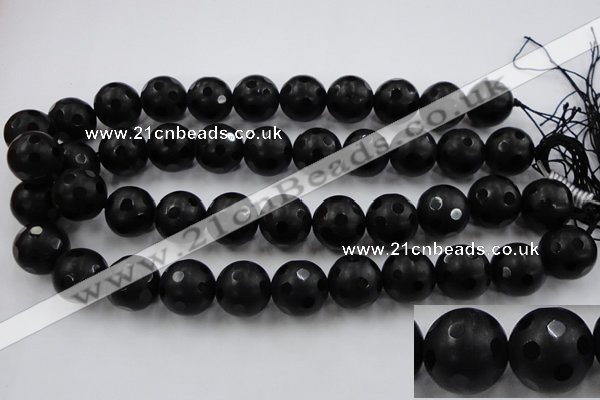 CAG3676 15.5 inches 18mm carved round matte black agate beads