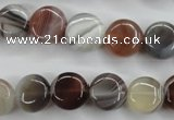 CAG3713 15.5 inches 12mm flat round botswana agate beads wholesale