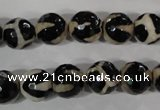 CAG3842 15.5 inches 10mm faceted round tibetan agate beads wholesale