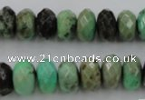 CAG3914 15.5 inches 7*12mm faceted rondelle green grass agate beads