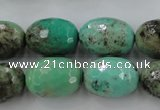 CAG3920 15.5 inches 13*18mm faceted rice green grass agate beads