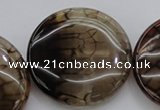 CAG4069 15.5 inches 40mm flat round dragon veins agate beads