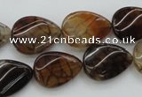 CAG4096 15.5 inches 13*18mm twisted flat teardrop dragon veins agate beads