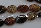 CAG4104 15.5 inches 10*14mm twisted oval dragon veins agate beads