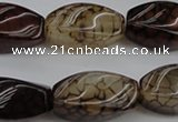 CAG4155 15.5 inches 13*25mm twisted rice dragon veins agate beads