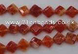 CAG4260 15.5 inches 6*6mm faceted diamond natural fire agate beads