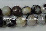 CAG4613 15.5 inches 6mm faceted round fire crackle agate beads