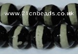 CAG4671 15.5 inches 16mm faceted round tibetan agate beads wholesale