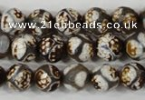 CAG4708 15 inches 10mm faceted round tibetan agate beads wholesale
