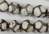 CAG4710 15 inches 14mm faceted round tibetan agate beads wholesale