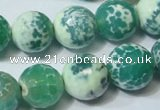 CAG4795 15.5 inches 14mm faceted round fire crackle agate beads
