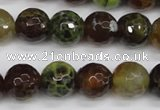 CAG4844 15 inches 12mm faceted round dragon veins agate beads