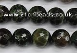 CAG4855 15 inches 14mm faceted round dragon veins agate beads
