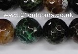 CAG4857 15 inches 18mm faceted round dragon veins agate beads