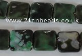 CAG4871 15 inches 14*14mm faceted square fire crackle agate beads
