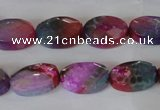 CAG4894 15 inches 10*14mm faceted oval fire crackle agate beads