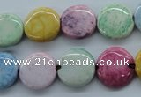 CAG4908 15.5 inches 14mm flat round dyed white agate beads