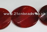 CAG5025 15.5 inches 25*30mm faceted & twisted oval agate beads