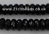 CAG5065 15.5 inches 6*12mm faceted rondelle black agate beads