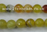 CAG5103 15.5 inches 10mm faceted round line agate beads wholesale