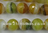 CAG5105 15.5 inches 14mm faceted round line agate beads wholesale