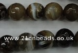 CAG5110 15.5 inches 14mm faceted round line agate beads wholesale