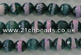 CAG5142 15 inches 8mm faceted round tibetan agate beads wholesale