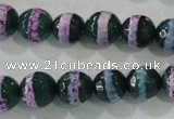 CAG5146 15 inches 10mm faceted round tibetan agate beads wholesale