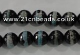 CAG5147 15 inches 10mm faceted round tibetan agate beads wholesale