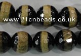 CAG5157 15 inches 12mm faceted round tibetan agate beads wholesale