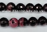 CAG5199 15 inches 10mm faceted round fire crackle agate beads