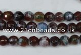 CAG5206 15 inches 6mm faceted round fire crackle agate beads